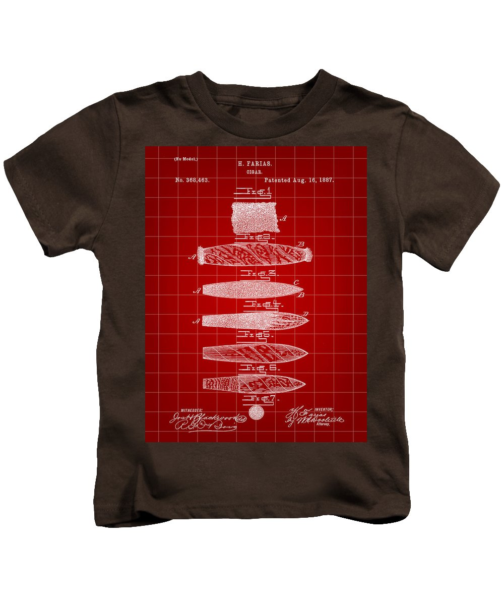 Cigar Kids T-Shirt featuring the digital art Cigar Patent 1887 - Red by Stephen Younts
