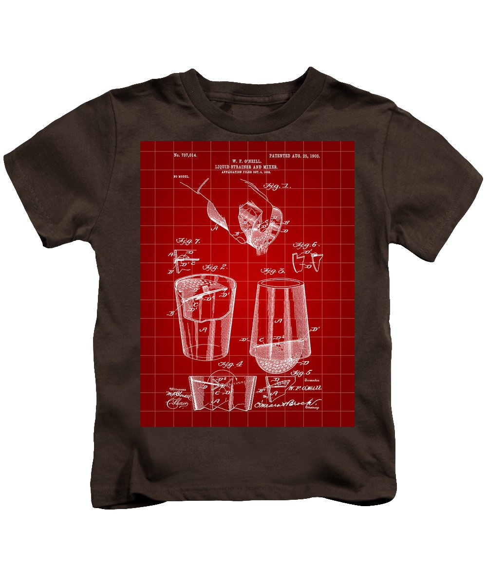 Cocktail Kids T-Shirt featuring the digital art Cocktail Mixer And Strainer Patent 1902 - Red by Stephen Younts