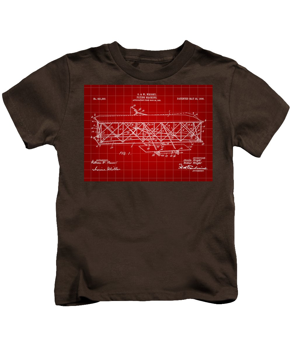 Patent Kids T-Shirt featuring the digital art Flying Machine Patent 1903 - Red by Stephen Younts
