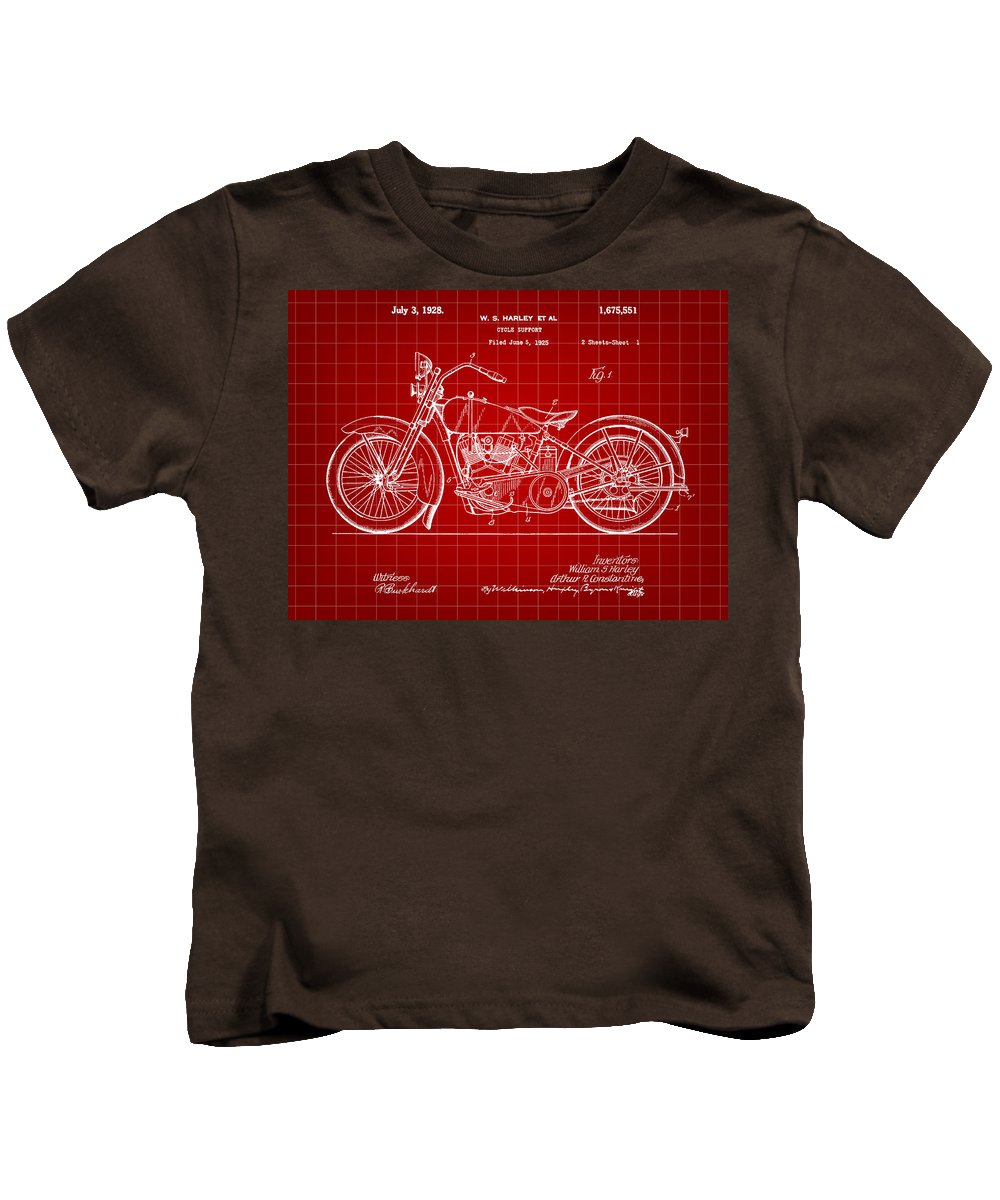 Harley Davidson Kids T-Shirt featuring the digital art Harley Davidson Motorcycle Patent 1925 - Red by Stephen Younts
