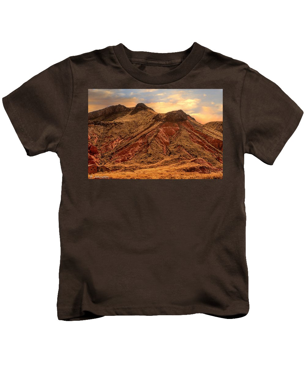 Arizona Kids T-Shirt featuring the digital art Navajo Nation Series Along 87 And 15 by Bob and Nadine Johnston