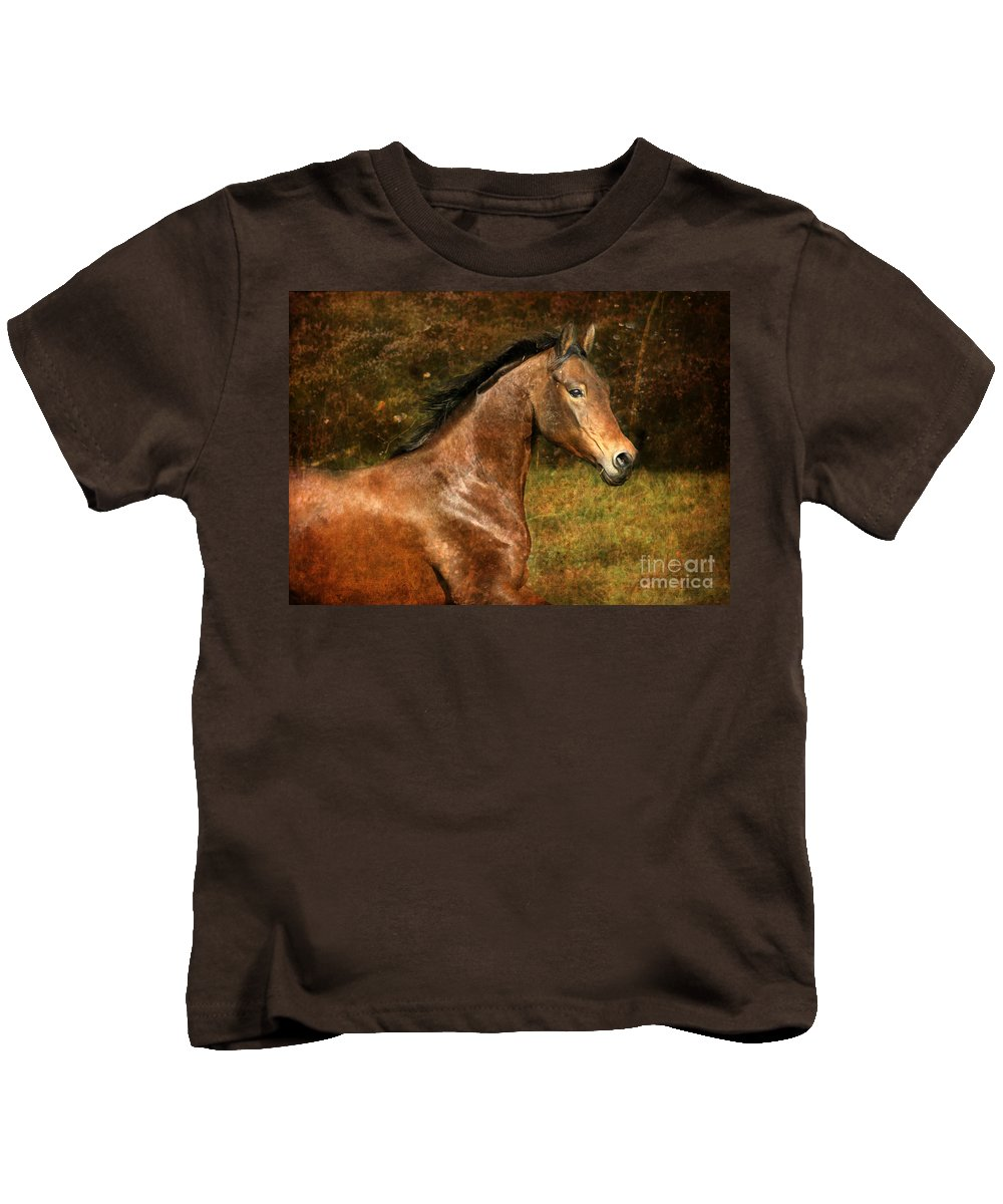 Horse Kids T-Shirt featuring the photograph The Bay Horse by Angel Ciesniarska