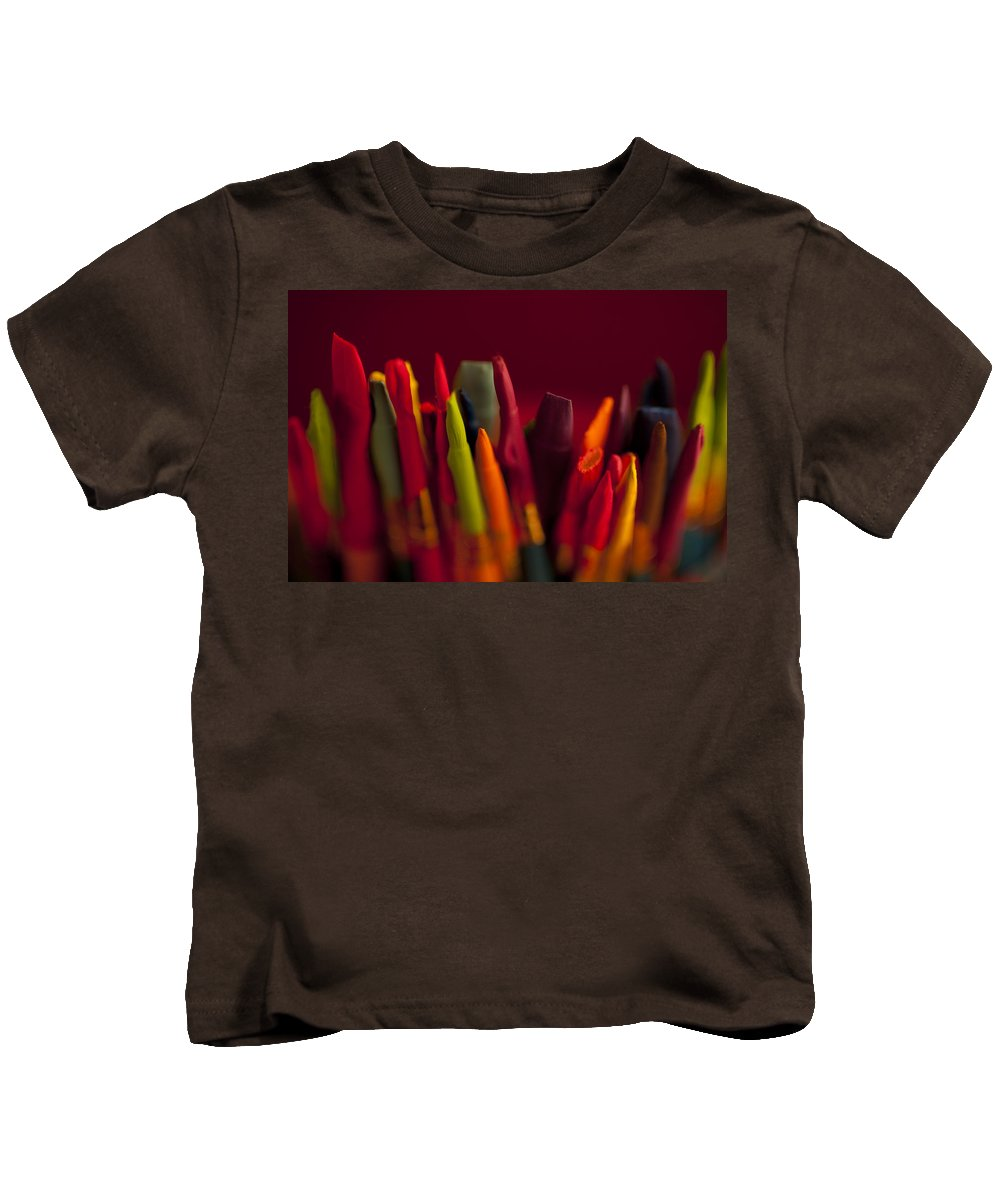 Art Kids T-Shirt featuring the photograph Multi Colored Paint Brushes by Jim Corwin