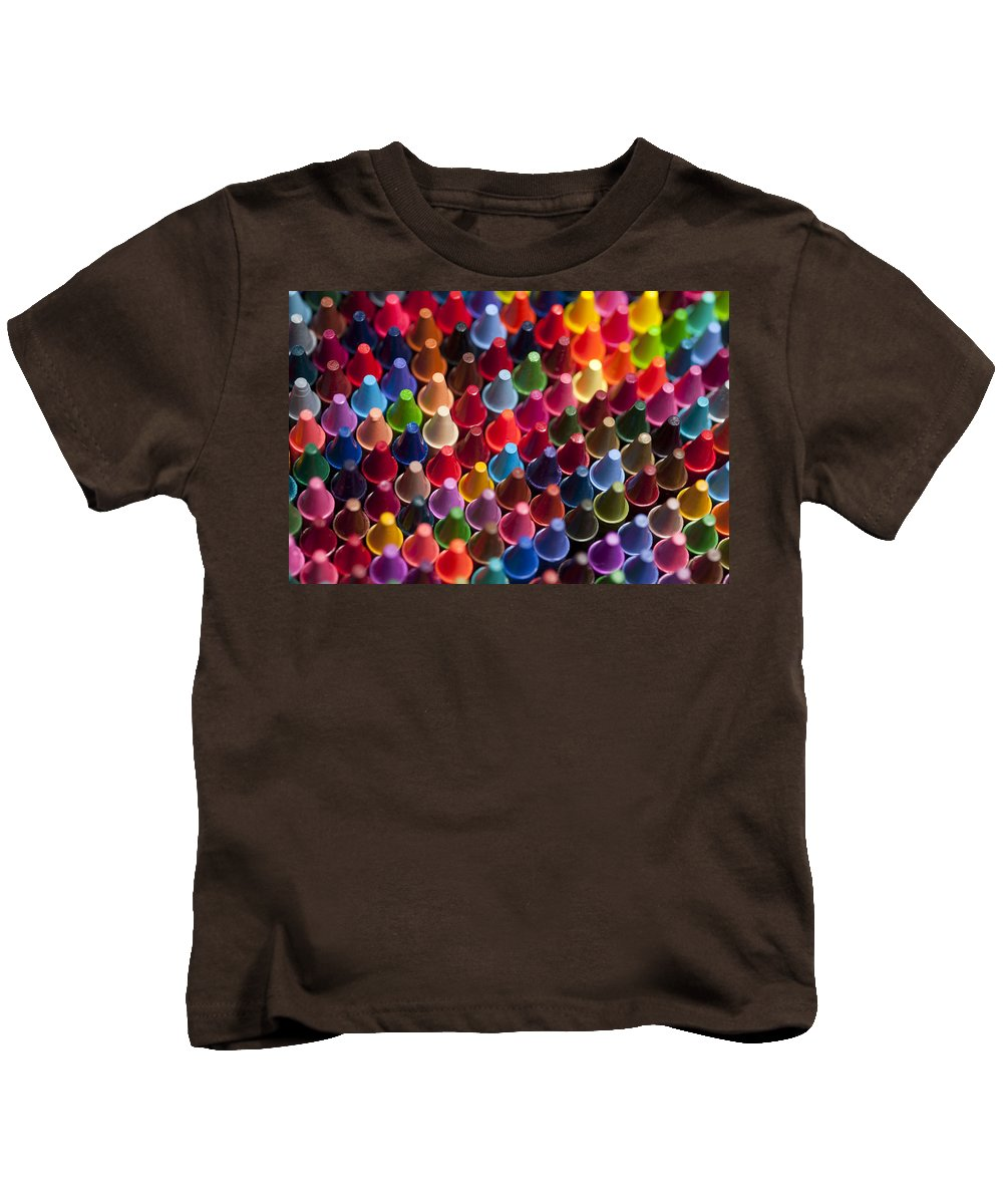 Abstract Kids T-Shirt featuring the photograph Rows Of Multicolored Crayons by Jim Corwin