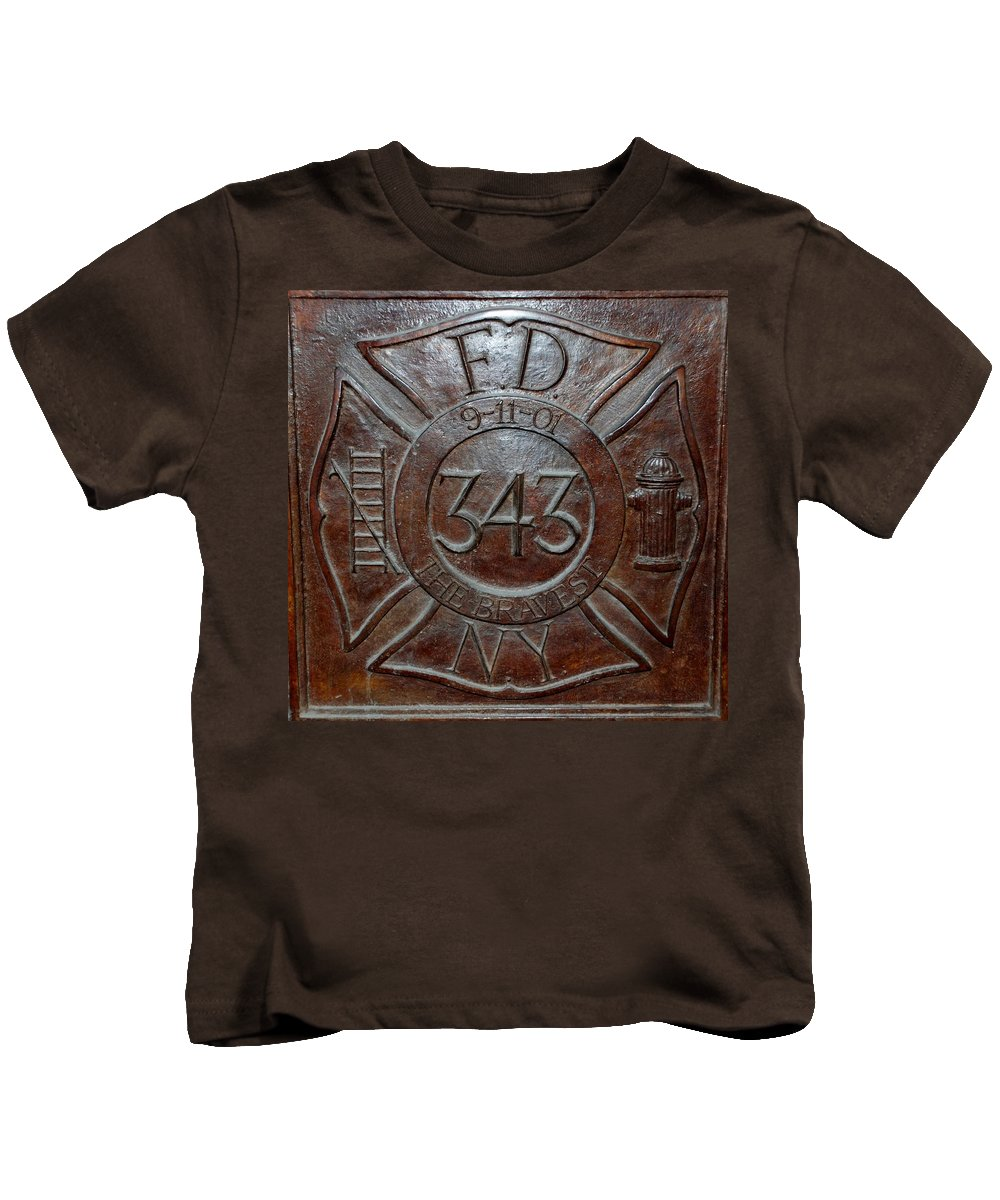 Fdny Kids T-Shirt featuring the photograph 9 11 01 F D N Y 343 by Rob Hans