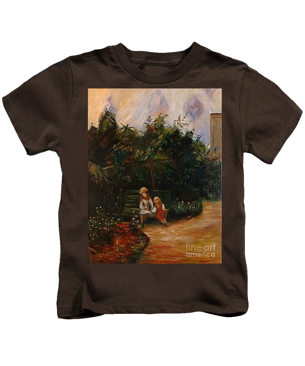 Classic Art Kids T-Shirt featuring the painting A Corner Of The Garden At The Hermitage by Silvana Abel