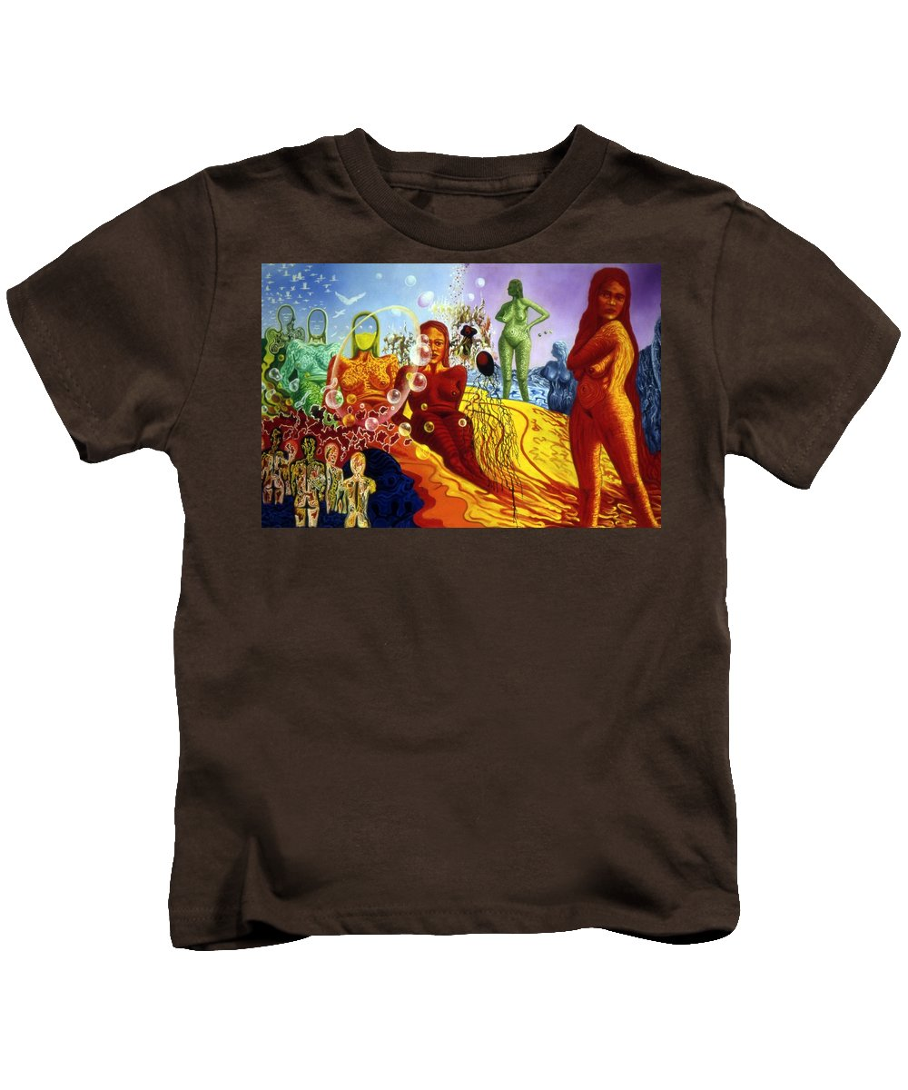 Genio Kids T-Shirt featuring the painting A Feminine Day In A Masculine Dreamer's Night by Genio GgXpress