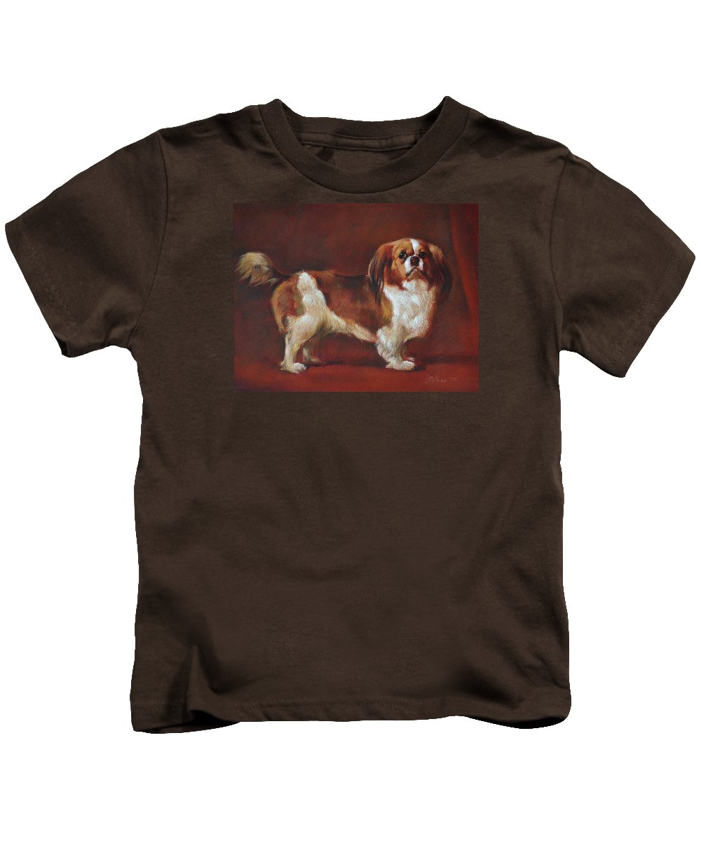Pastel Kids T-Shirt featuring the painting A King Charles Spaniel by Iliyan Bozhanov