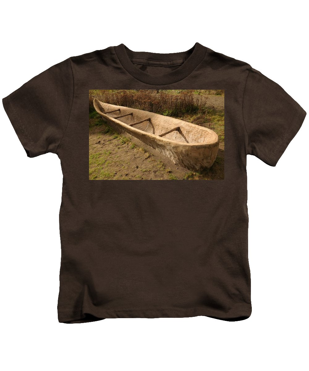 Native Kids T-Shirt featuring the photograph A Native American Fishing Boat by Jeff Swan
