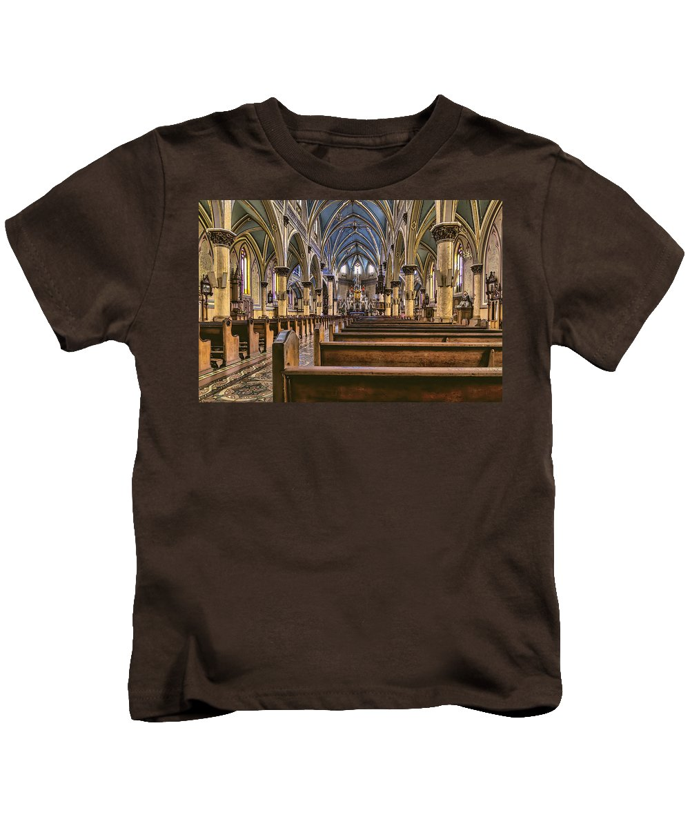 Aisle Kids T-Shirt featuring the photograph Place To Worship by Maria Coulson