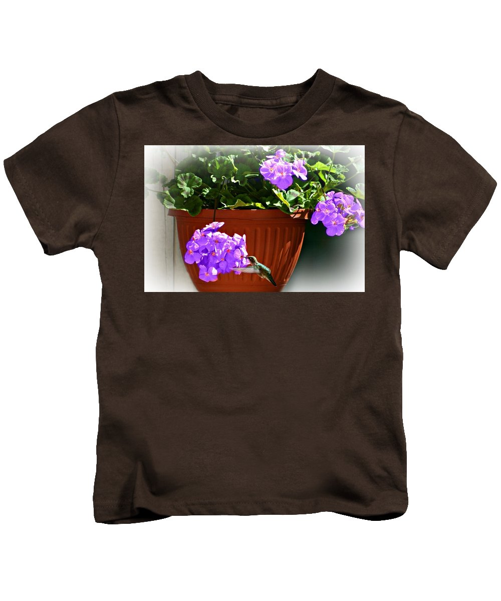 Macro Kids T-Shirt featuring the photograph A Taste Of Geraniums by Barbara S Nickerson