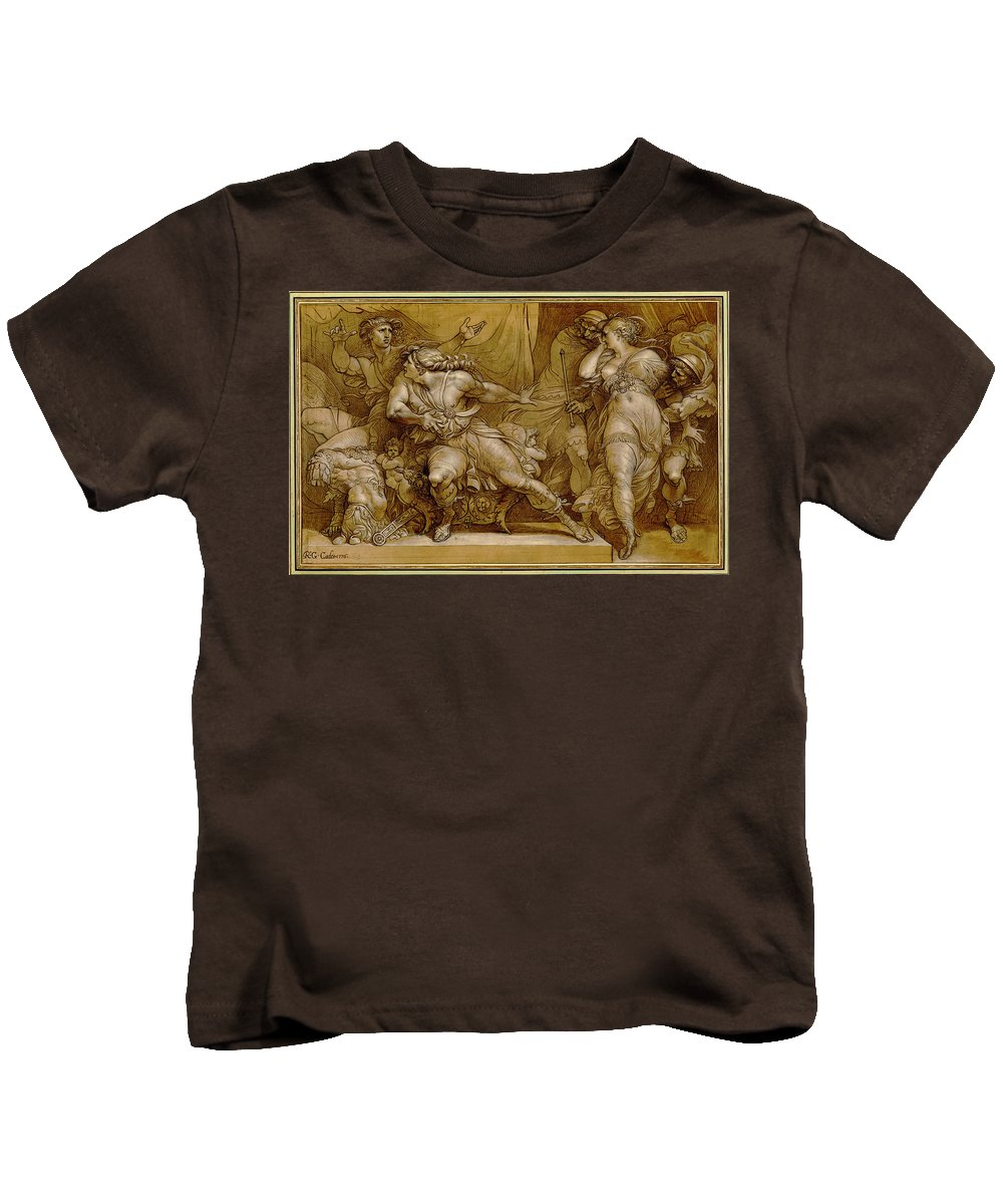 Giuseppe Cades Kids T-Shirt featuring the painting Achilles And Briseis by Giuseppe Cades