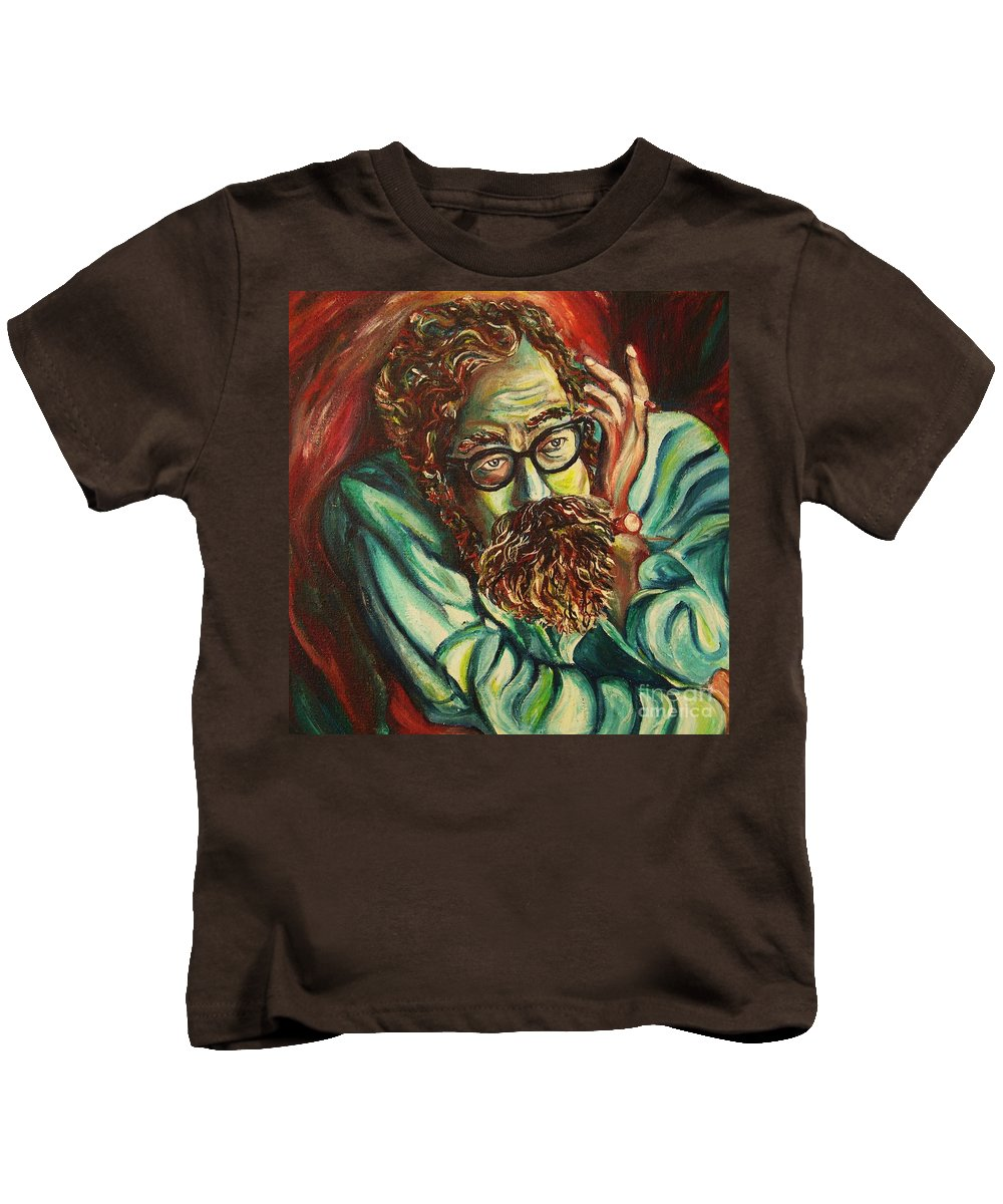 Allen Ginsberg Kids T-Shirt featuring the painting Alan Ginsberg Poet Philosopher by Carole Spandau