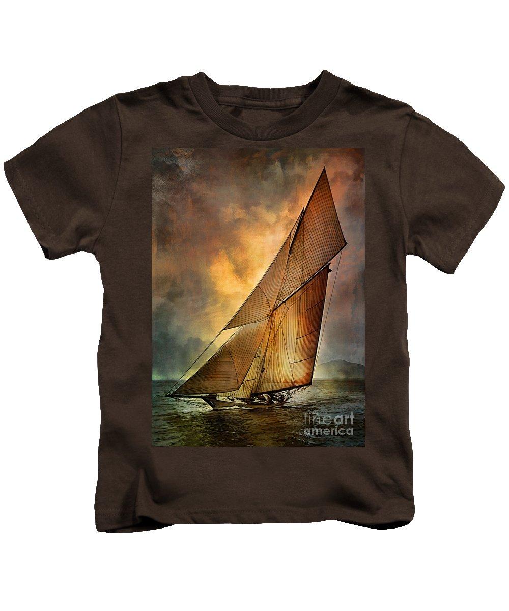 Sailboat Kids T-Shirt featuring the digital art America's Cup by Andrzej Szczerski