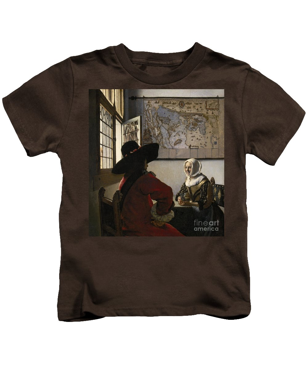 Amorous Kids T-Shirt featuring the painting Amorous Couple by Vermeer