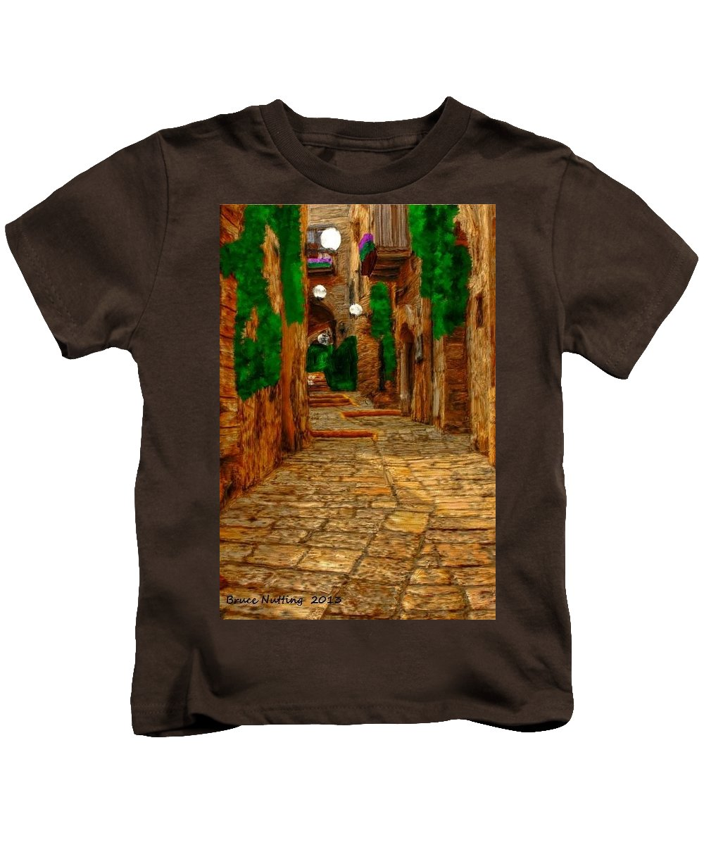 Walkway Kids T-Shirt featuring the painting Ancient Street by Bruce Nutting