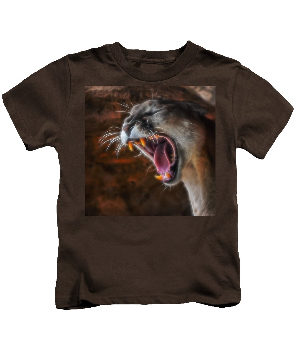 Mountain Lion Kids T-Shirt featuring the digital art Angry Cougar by Ernie Echols