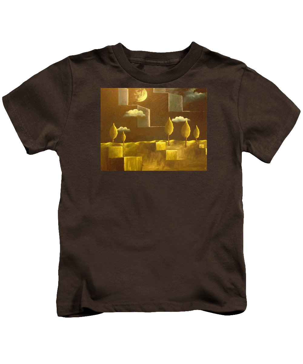 Surrealism Kids T-Shirt featuring the painting another World by Birgit Schnapp