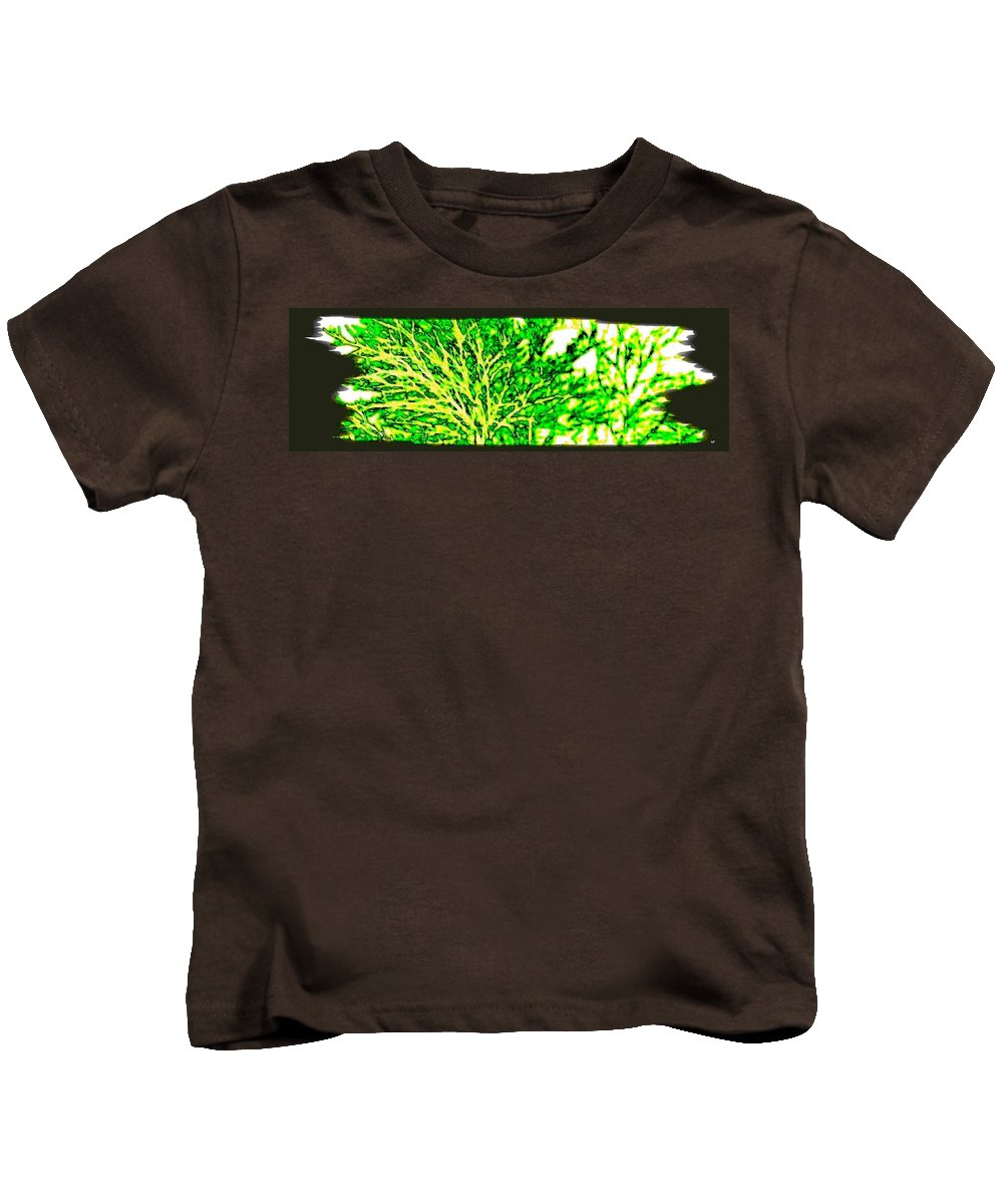 Arbres Verts Kids T-Shirt featuring the digital art Arbres Verts by Will Borden