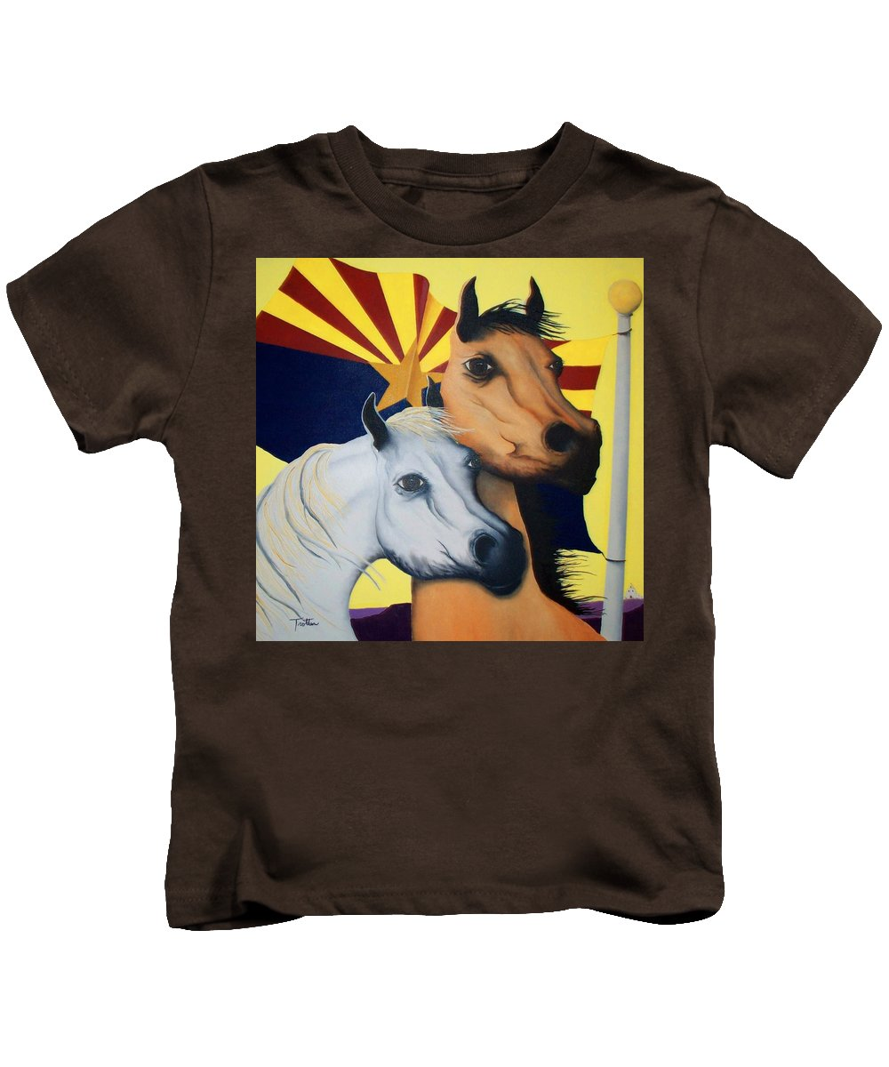 Horses Kids T-Shirt featuring the painting Arizona Spirit by Patrick Trotter