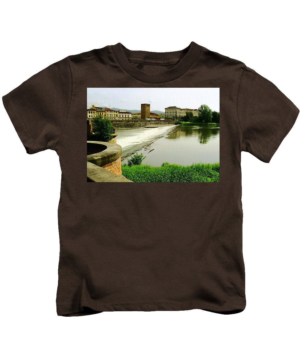 Arno River Kids T-Shirt featuring the photograph Arno River 1 by Ellen Henneke