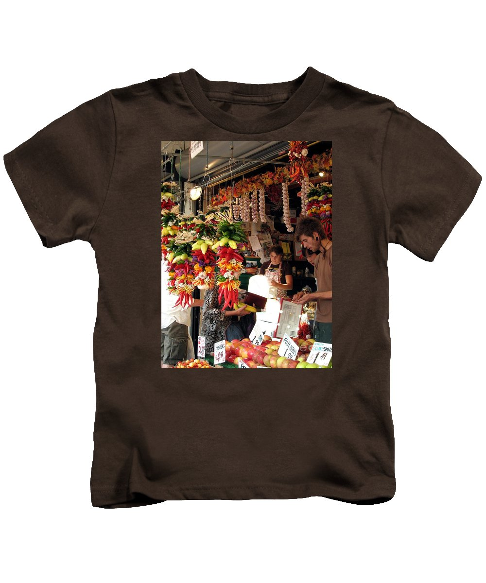 pike Place Market Kids T-Shirt featuring the photograph At The Market by Chris Anderson