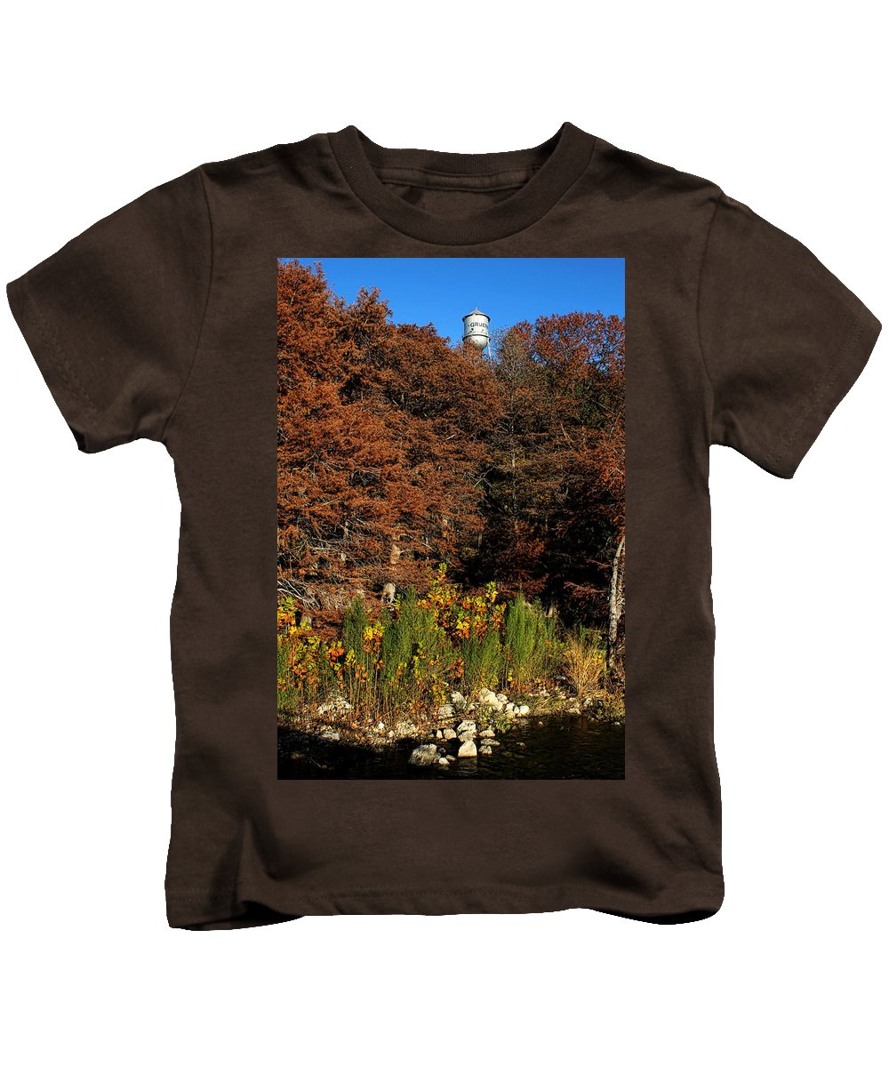 America Kids T-Shirt featuring the photograph Autumn In Gruene by Judy Vincent