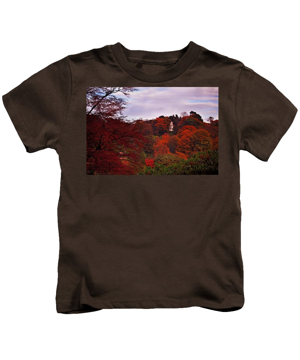 Paogoda Kids T-Shirt featuring the photograph Autumn Pagoda by Beverly Cash