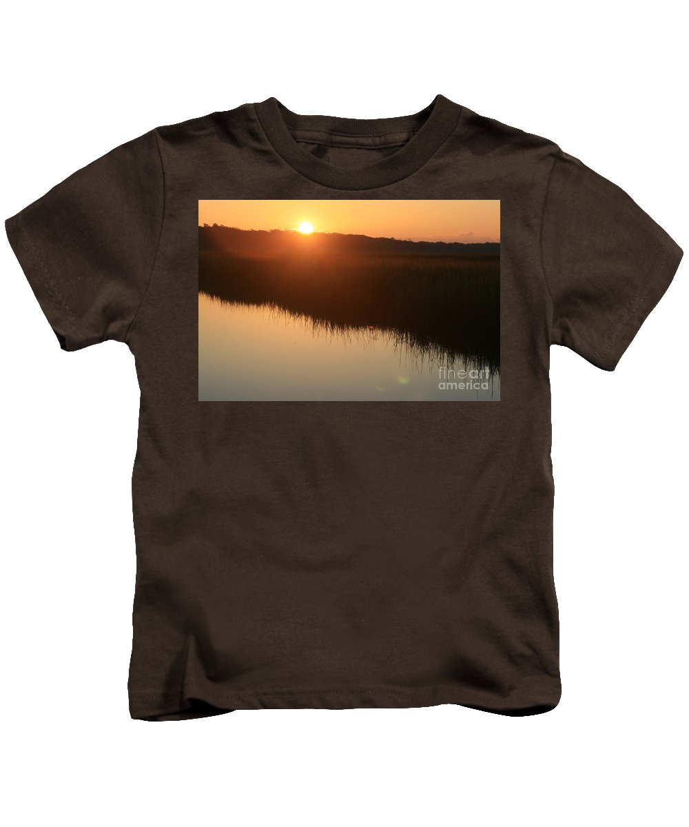 Sunrise Kids T-Shirt featuring the photograph Autumn Sunrise Over The Marsh by Nadine Rippelmeyer