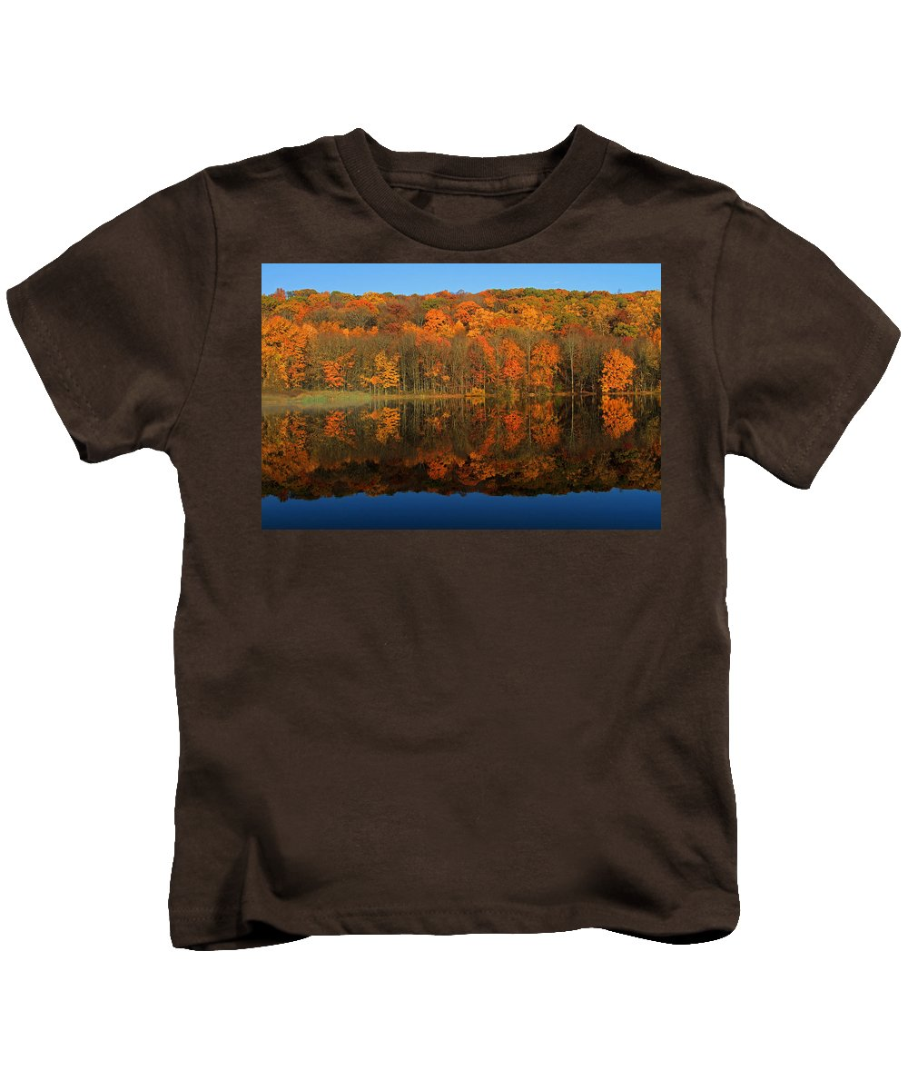 Reflection Kids T-Shirt featuring the photograph Autumns Colorful Reflection by Karol Livote