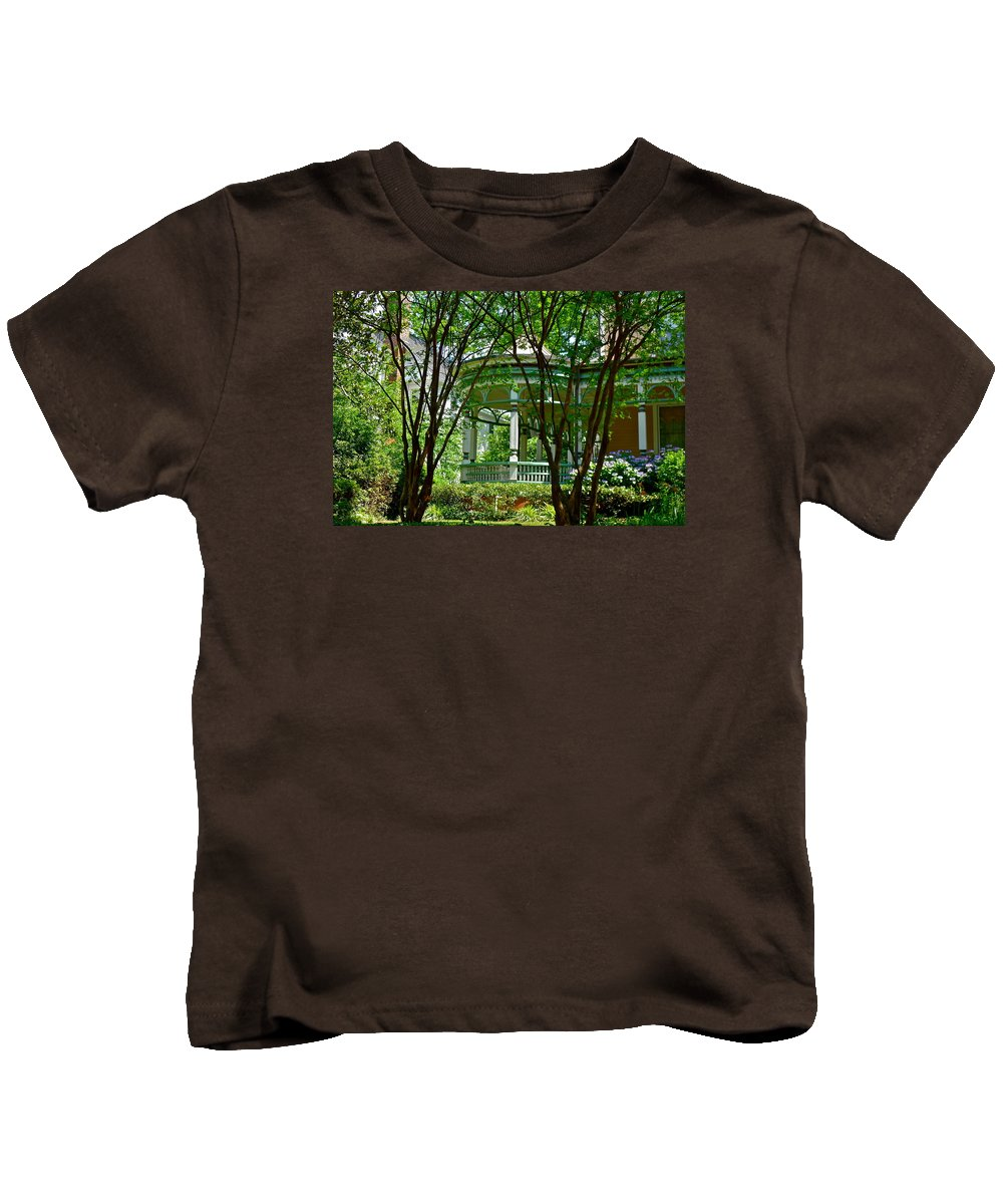 House Kids T-Shirt featuring the photograph Awesome Victorian Porch by Denise Mazzocco