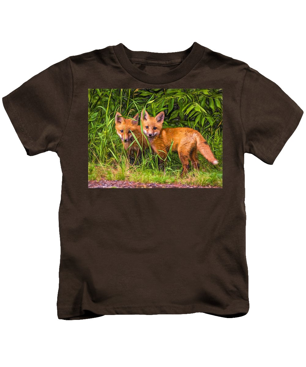 Wildlife Kids T-Shirt featuring the photograph Babes In The Woods 2 - Paint by Steve Harrington
