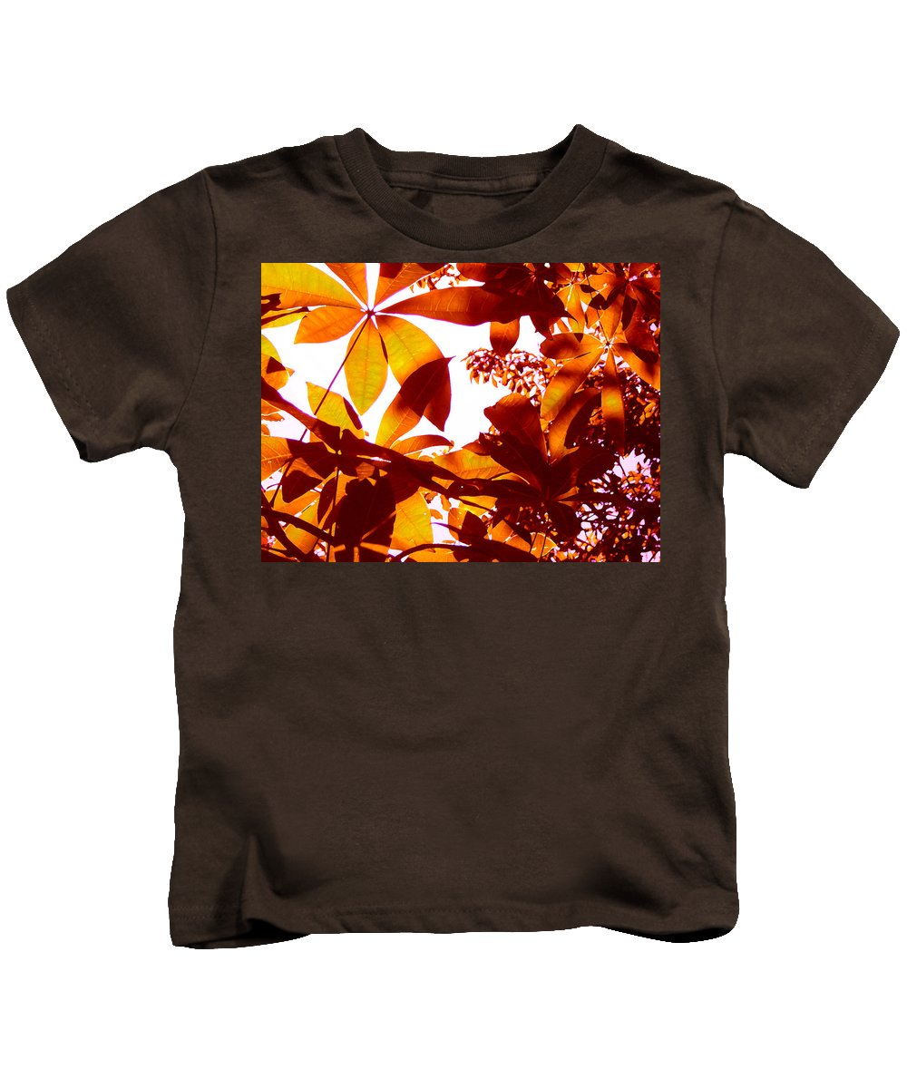 Garden Kids T-Shirt featuring the painting Backlit Tree Leaves 2 by Amy Vangsgard