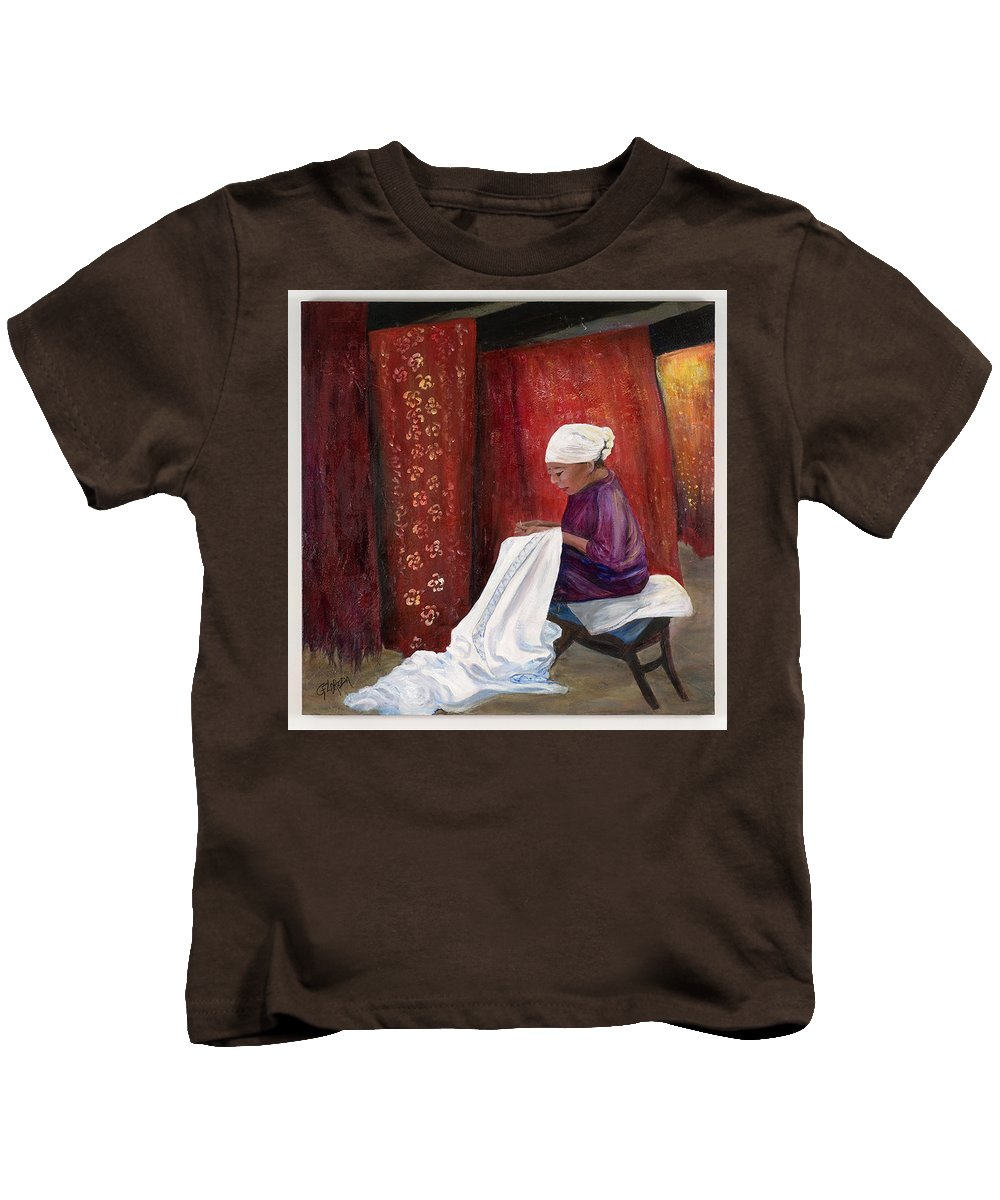 Artwork Kids T-Shirt featuring the painting Batik Threads by Csilla Florida