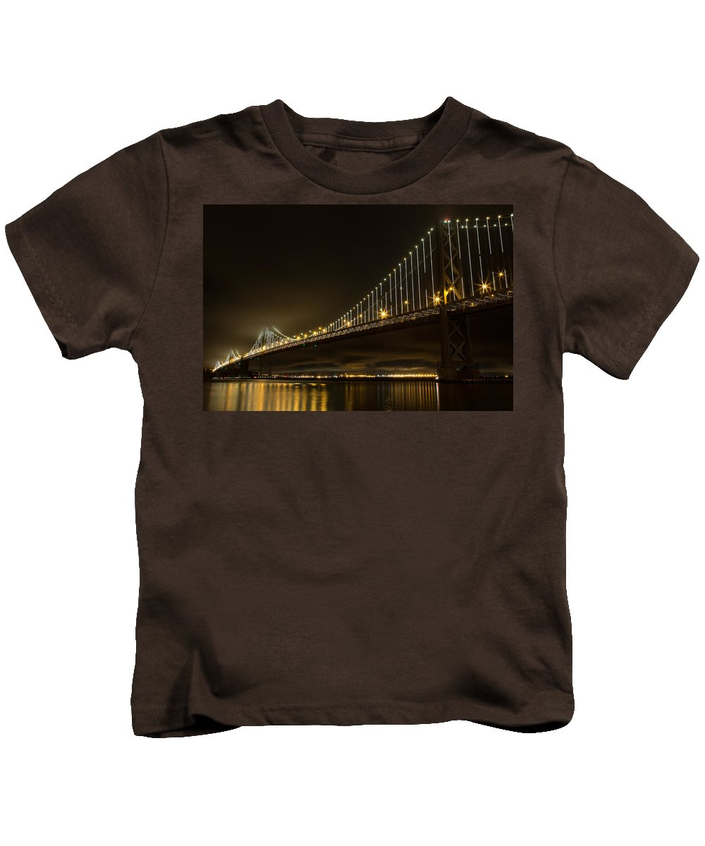 San Francisco Kids T-Shirt featuring the photograph Bay Bridge And Fog by John Daly
