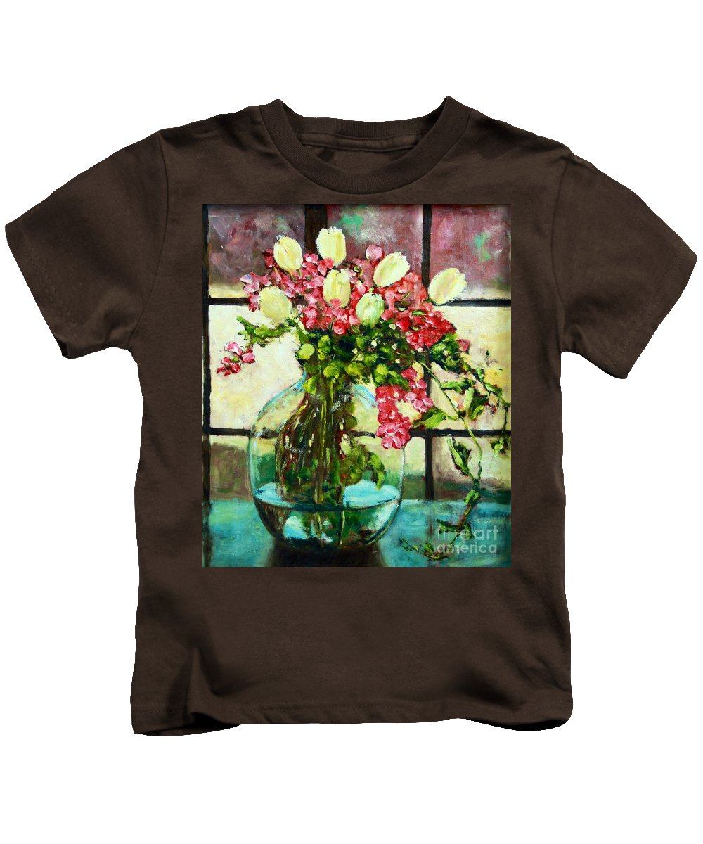 Original Kids T-Shirt featuring the painting Beauty In The Window by ElsaDe Paintings