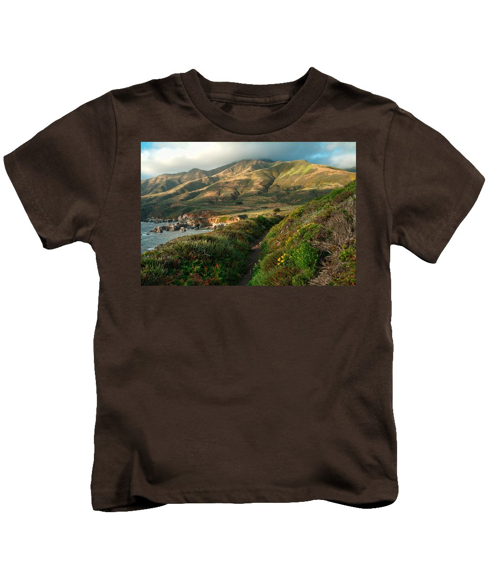 Landscape Kids T-Shirt featuring the photograph Big Sur Trail At Soberanes Point by Charlene Mitchell
