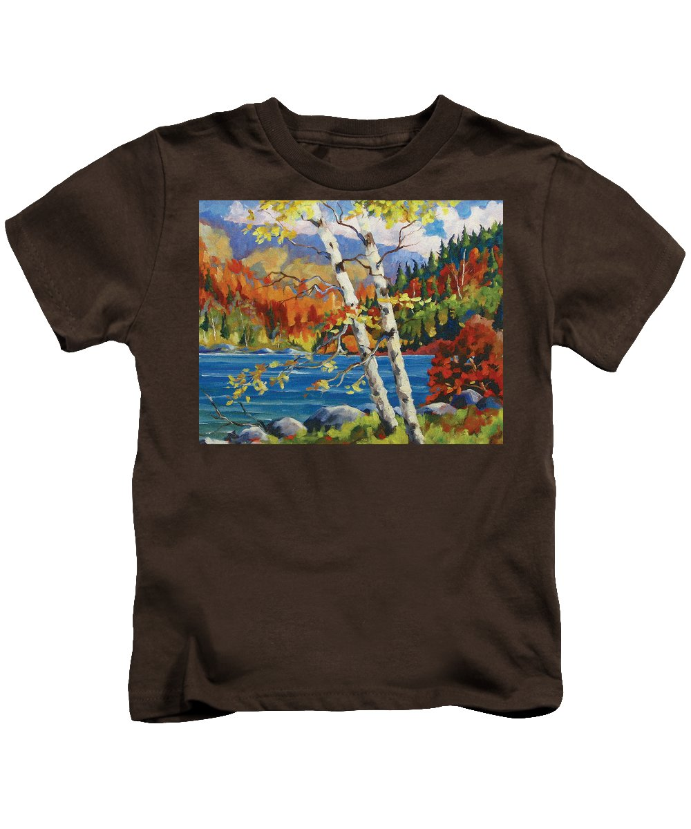 Art Kids T-Shirt featuring the painting Birches By The Lake by Richard T Pranke