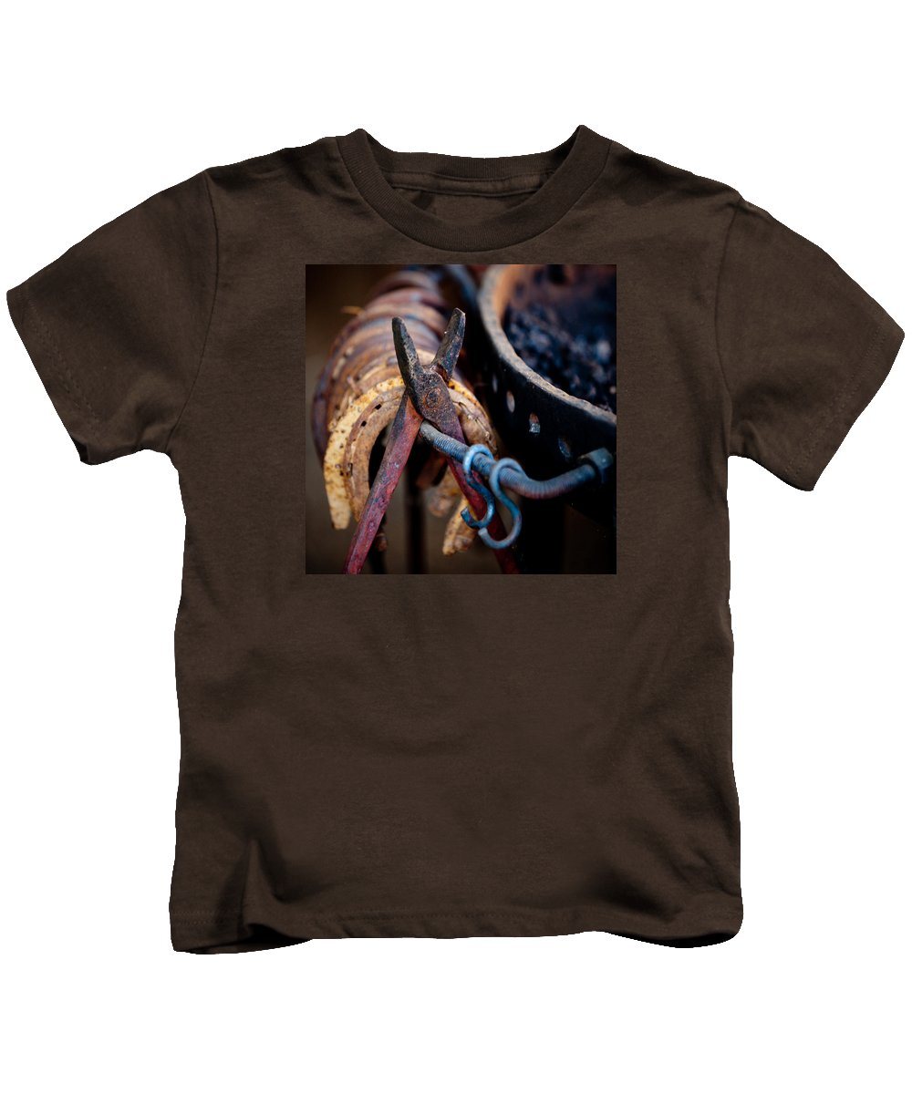 Blacksmith Kids T-Shirt featuring the photograph Blacksmith Tools by Art Block Collections