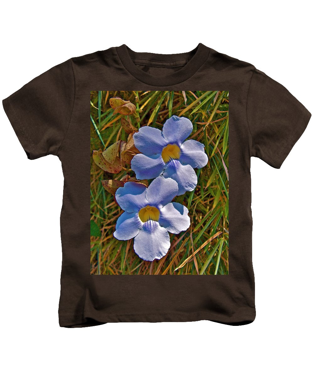Blue Trumpet Vine In Butterfly Botanical Garden In Manuel Antonio In Costa Rica Kids T-Shirt featuring the photograph Blue Trumpet Vine In Manuel Antonio's Butterfly Botanical Garden-costa Rica by Ruth Hager