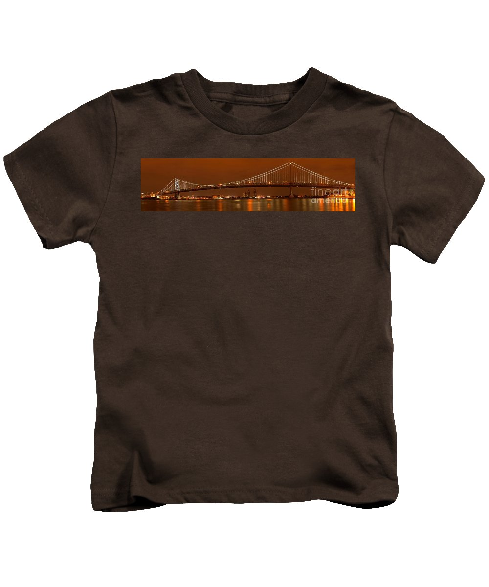 Ben Franklin Panorama Kids T-Shirt featuring the photograph Bridging New Jersey And Pennsylvania by Adam Jewell