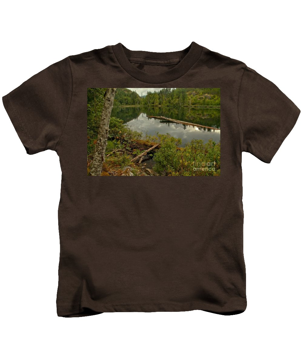 Starvation Lake Kids T-Shirt featuring the photograph British Columbia Starvation Lake by Adam Jewell