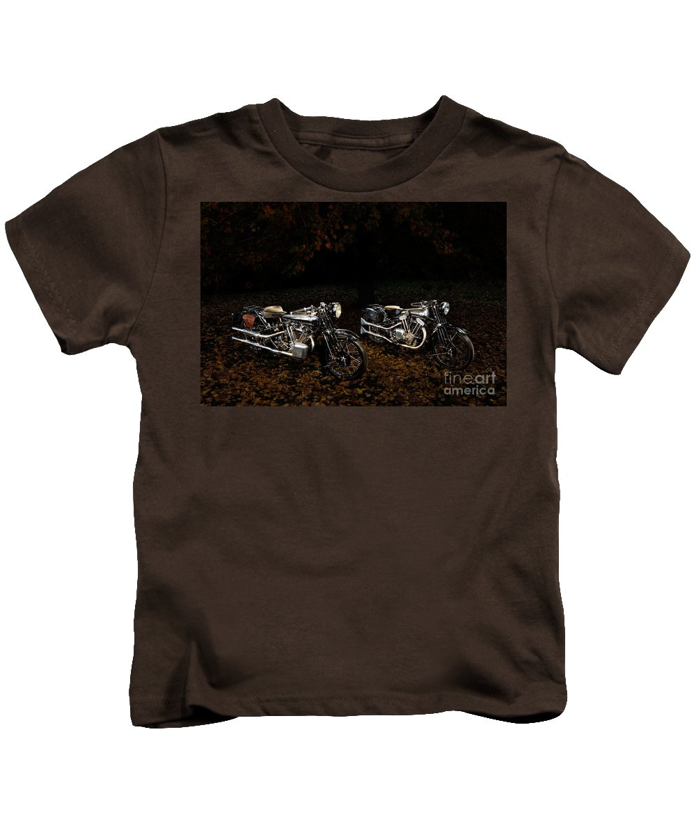 Bike Kids T-Shirt featuring the photograph Brough Superior Ss100 And 680 by Frank Kletschkus
