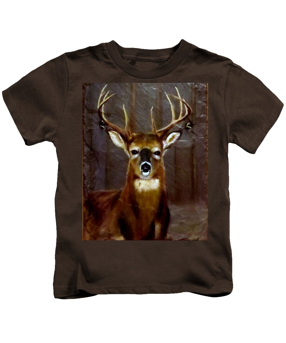 Buck Kids T-Shirt featuring the painting Buck On Slate by Gino Didio