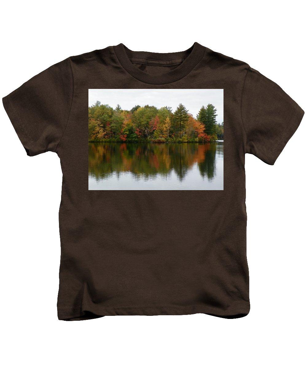 Foliage Kids T-Shirt featuring the photograph Bunganut Lake Foliage 4 by Lynne Miller