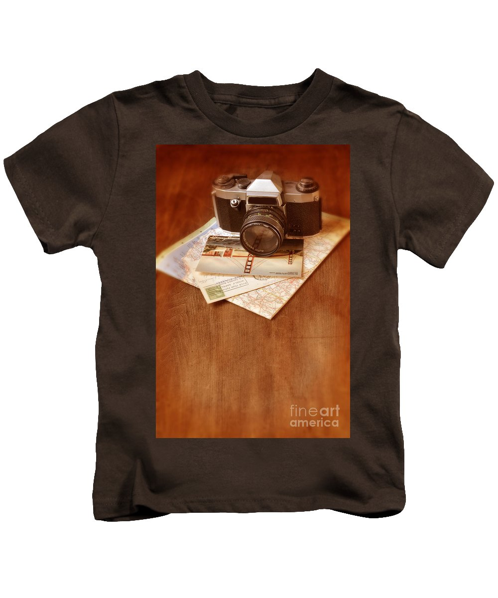 Camera Kids T-Shirt featuring the photograph Camera Map And Postcards by Jill Battaglia