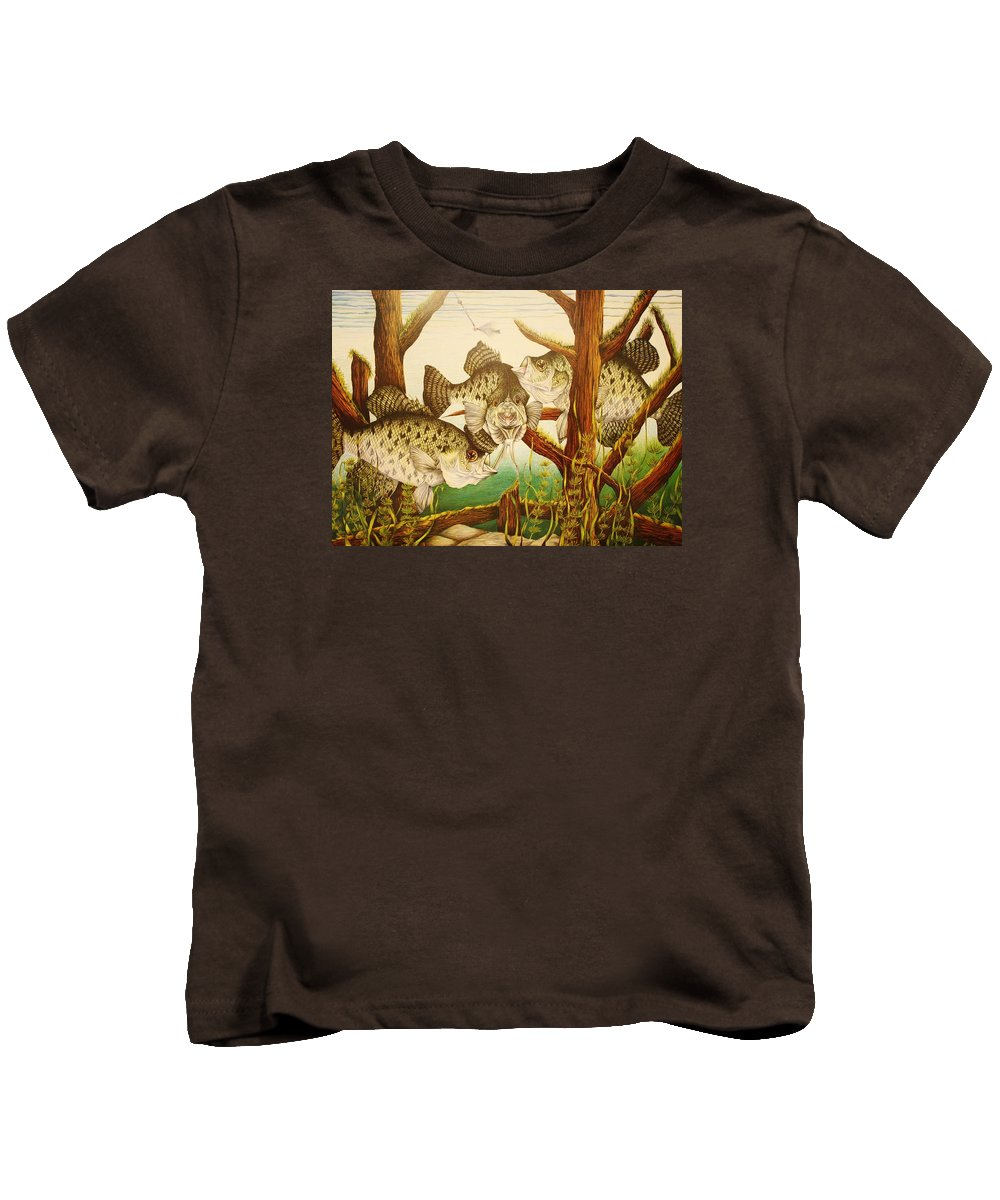 Fishing Kids T-Shirt featuring the drawing Captivating Crappies by Bruce Bley
