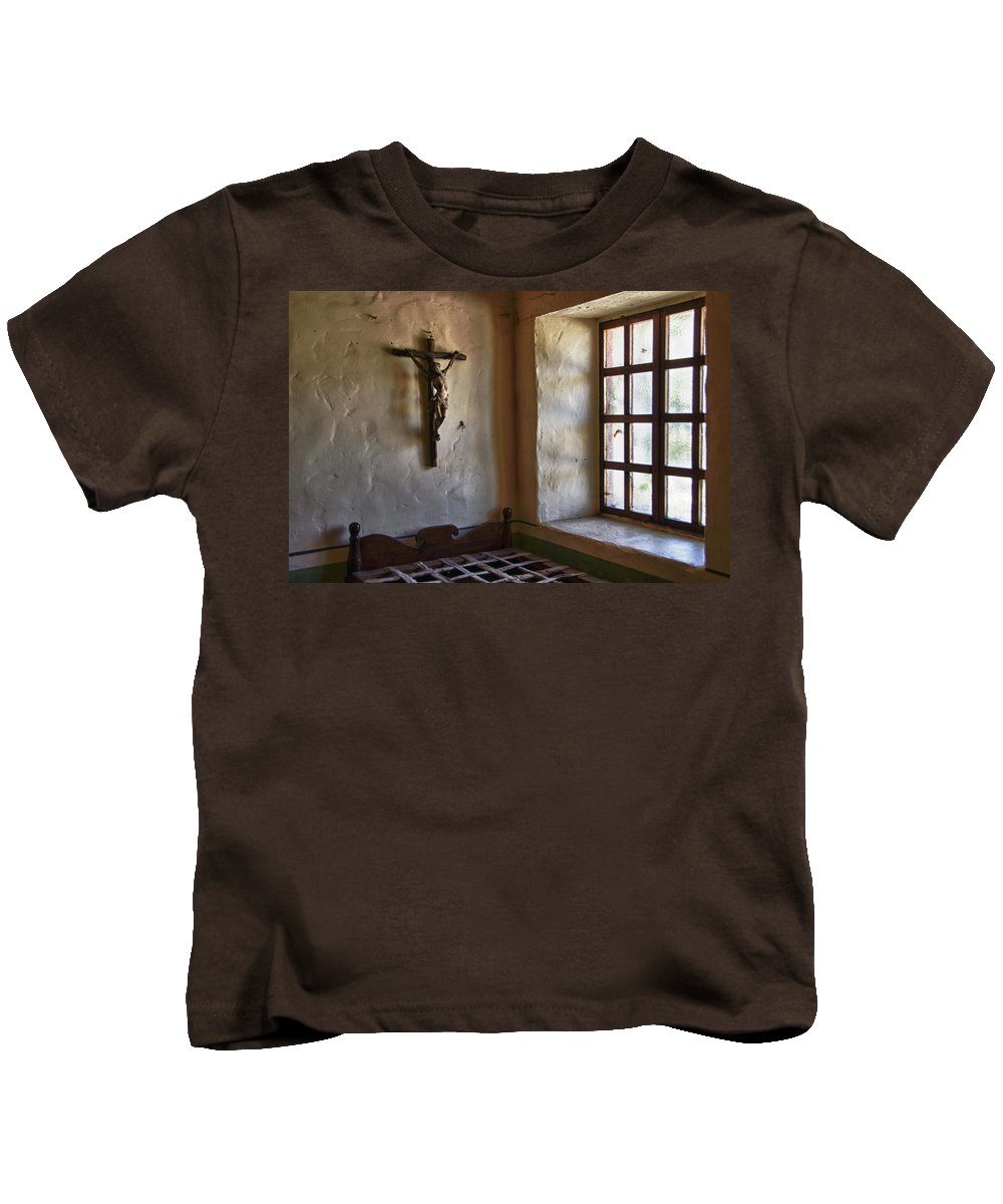 Carmel California Mission Kids T-Shirt featuring the photograph Carmel Mission 4 by Ron White