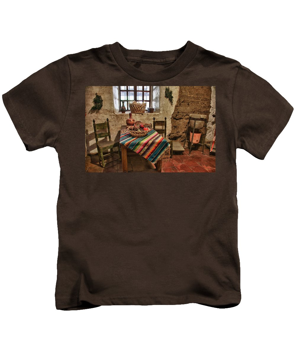 Carmel California Mission Kids T-Shirt featuring the photograph Carmel Mission 7 by Ron White