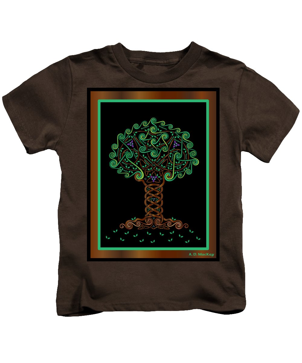 Celtic Art Kids T-Shirt featuring the digital art Celtic Tree Of Life by Celtic Artist Angela Dawn MacKay